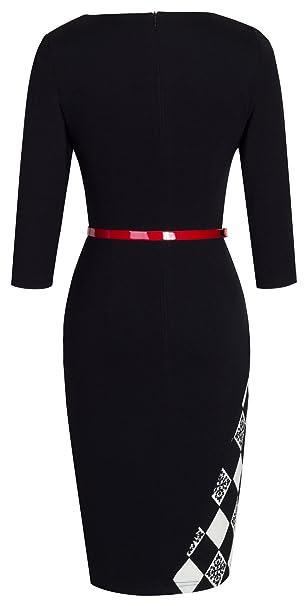 Women's Elegant Patchwork Sheath Sleeveless Business Dress