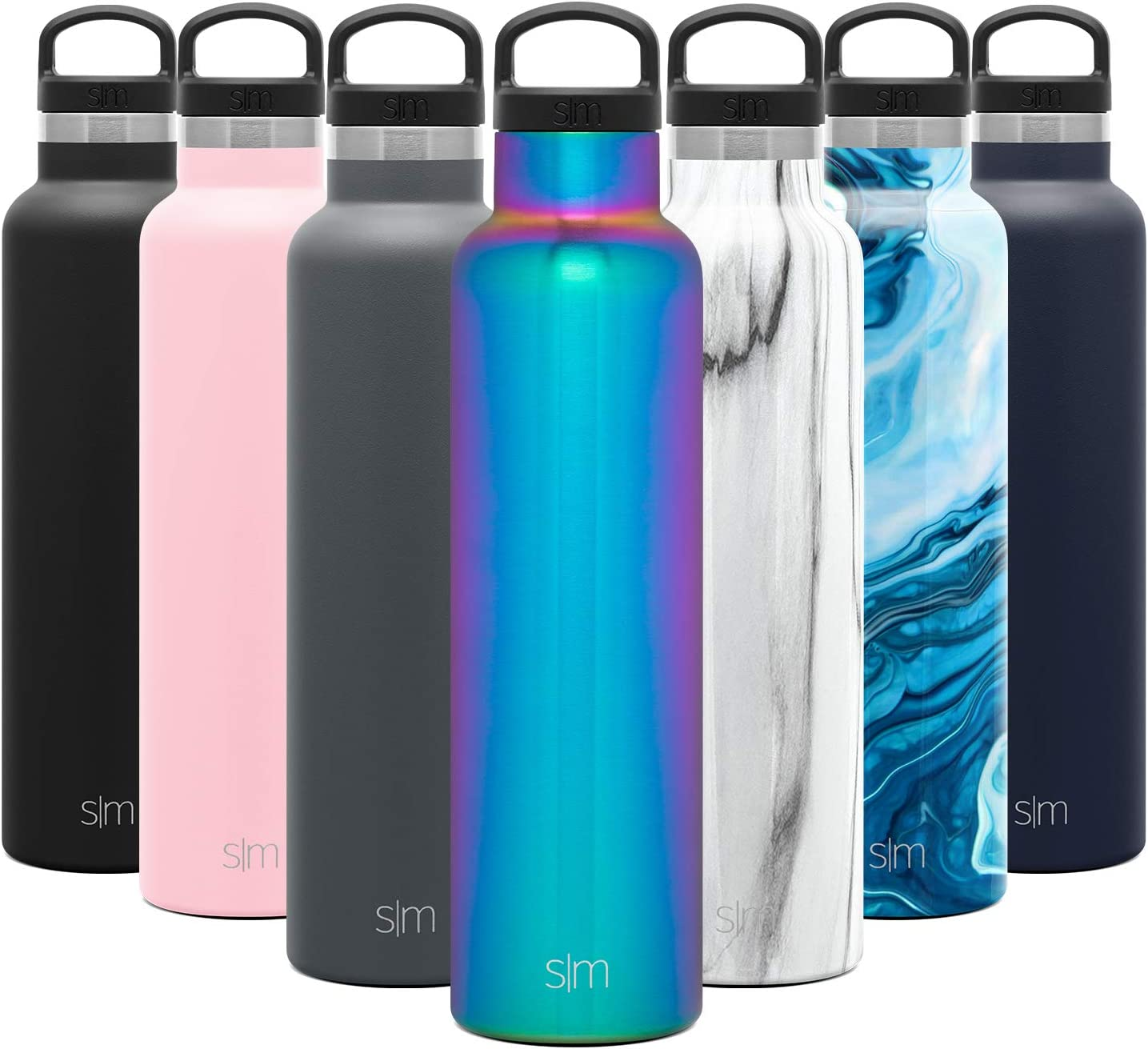 Simple Modern 24oz Ascent Water Bottle - Hydro Vacuum Insulated Tumbler Flask w/Handle Lid - Purple Double Wall Stainless Steel Reusable - Leakproof: -Prism