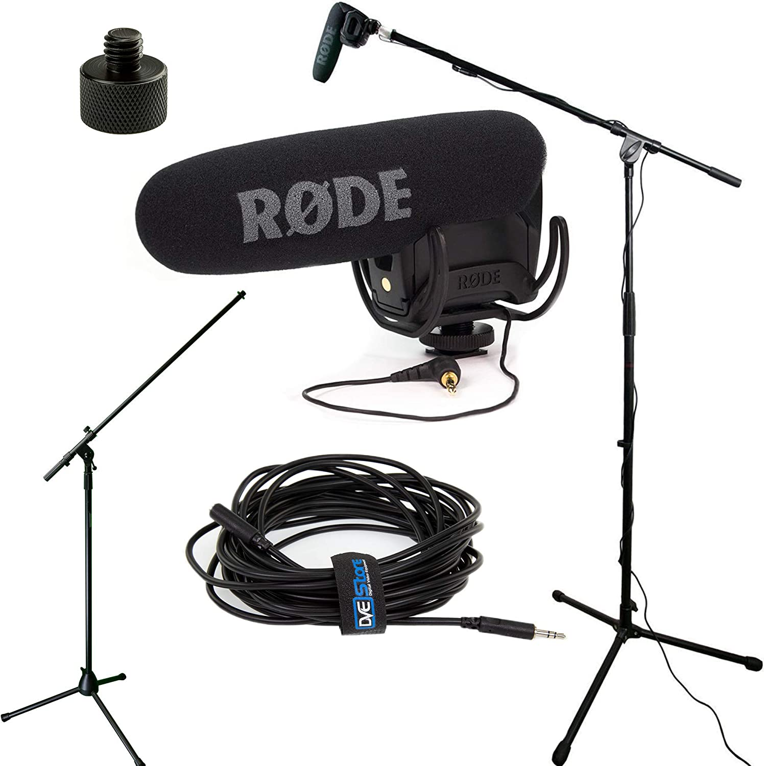 Rode VideoMic Studio Boom Kit Black DeadCat 25/' Cable Adapter Boom Stand
