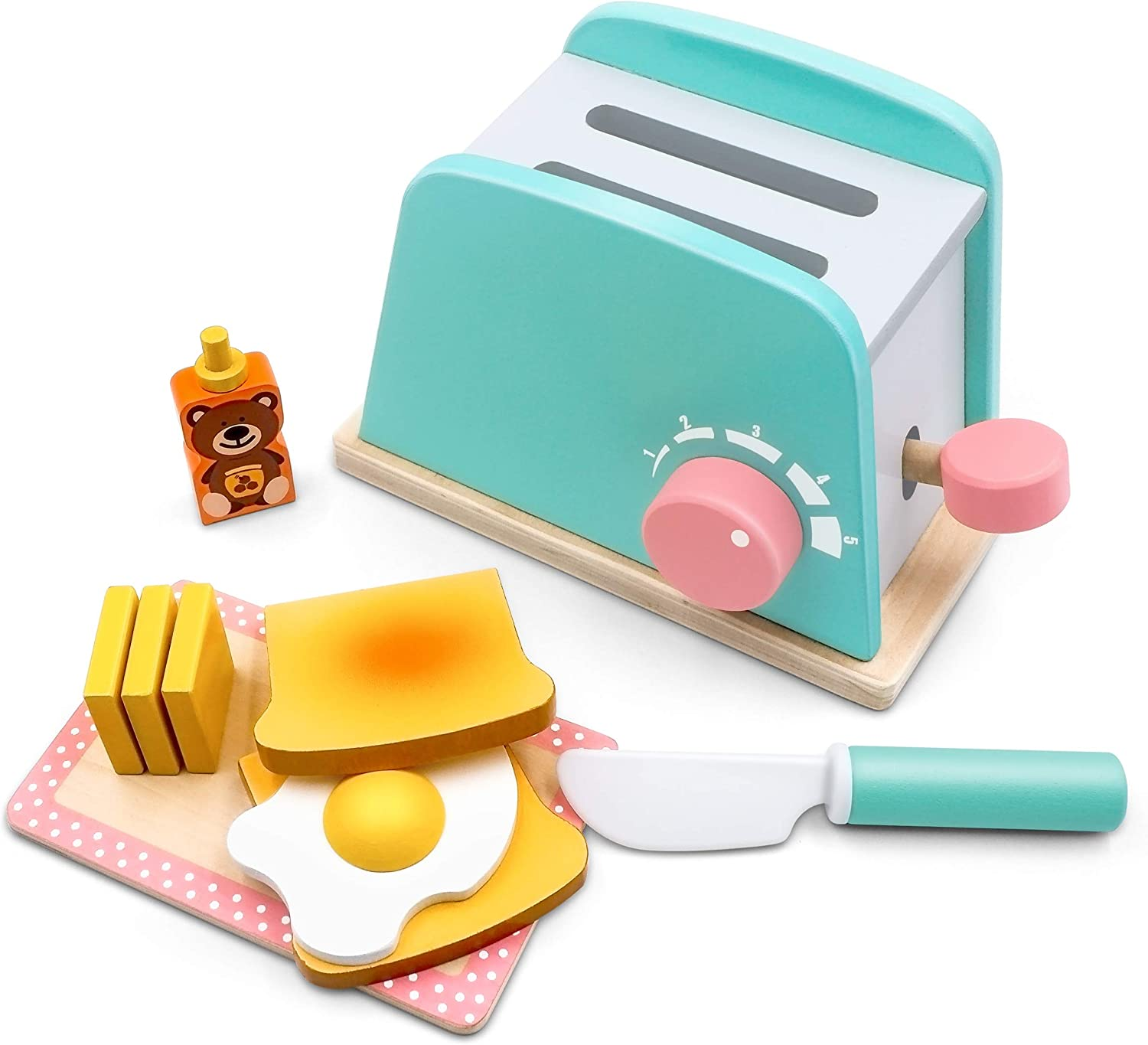 Toy Kitchen Wooden Pop-Up Toaster Play Set 10 Pcs, Interactive Early Learning Toaster, Exclusive Chopping Board, Knife, Poached Egg Honey Bear and Sliceable Butter, Fun and Colorful for Girls and Boys