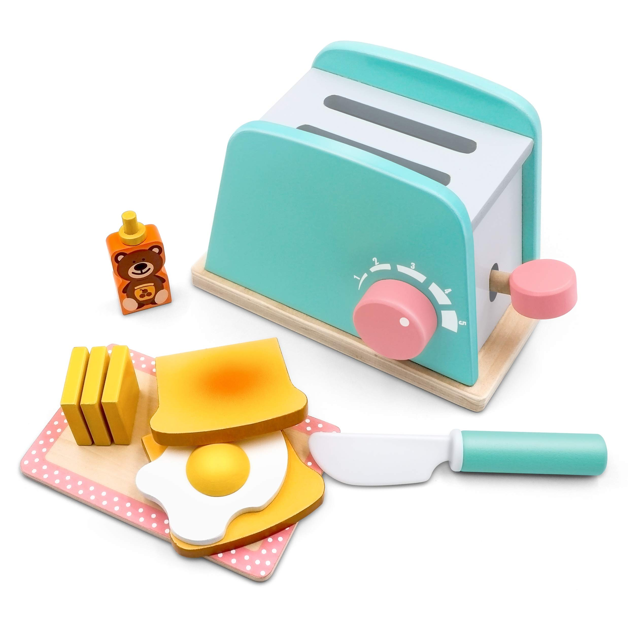 Toy Kitchen Wooden Pop-Up Toaster Play Set 10 Pcs, Interactive Early Learning Toaster, Exclusive Chopping Board, Knife, Poached Egg Honey Bear and Sliceable Butter, Fun and Colorful for Girls and Boys by Tiny Land