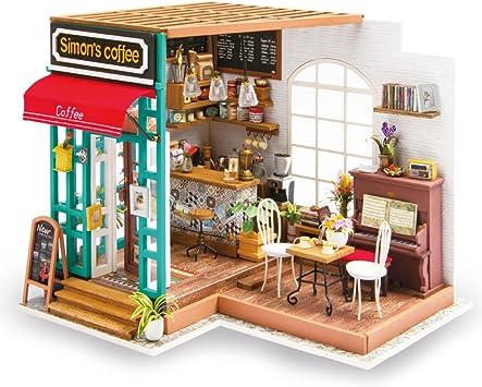 Oferta amazon: Rolife 3D casa de muñecas de Madera con luz café Miniatura DIY Modelo Kit-Tops Juguetes para niños 14 15 16 17 años de Edad hasta-Mejores Regalos para Adultos(Simmon's Coffee)
