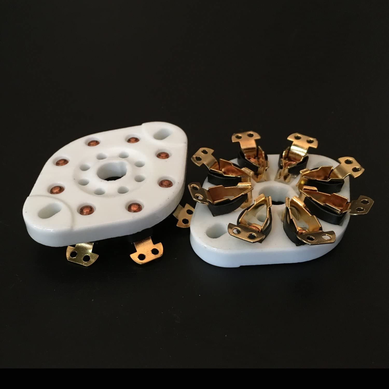 100Pcs 8Pin Gold Plated Vacuum Tube Socket Valve Base for EL34 6550KT88GZC8-NS-G