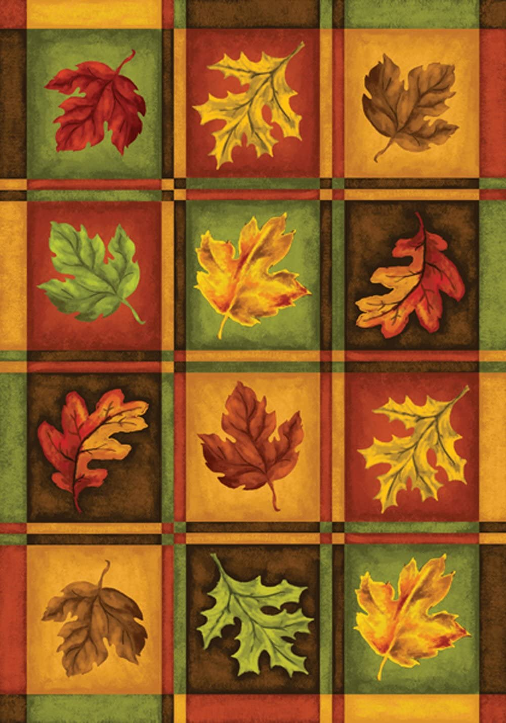 Toland Home Garden Fall Leaves 12.5 x 18 Inch Decorative Plaid Autumn Leaf Garden Flag