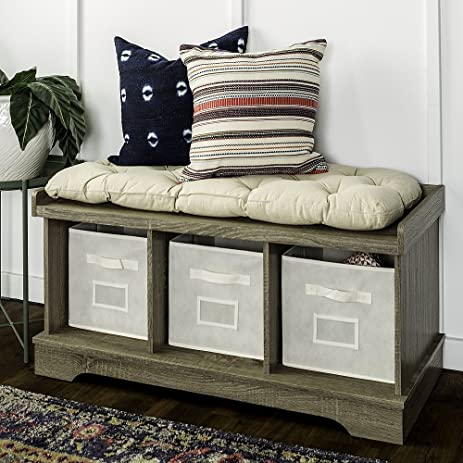 Genial New 42 Inch Wide Storage Bench With Totes And Cushion In Driftwood Finish