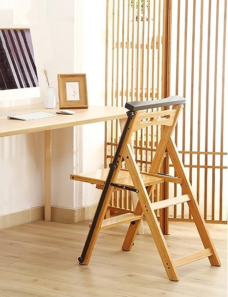 ZENGAI Escalera Madera Taburete escalera de Madera Escaleras de madera maciza Silla de casa Escalera Silla Doblar Subir Escalera Escalera Multifunción Creative Escalera de silla de uso dual Bambú Biblioteca#: Amazon.es: Hogar