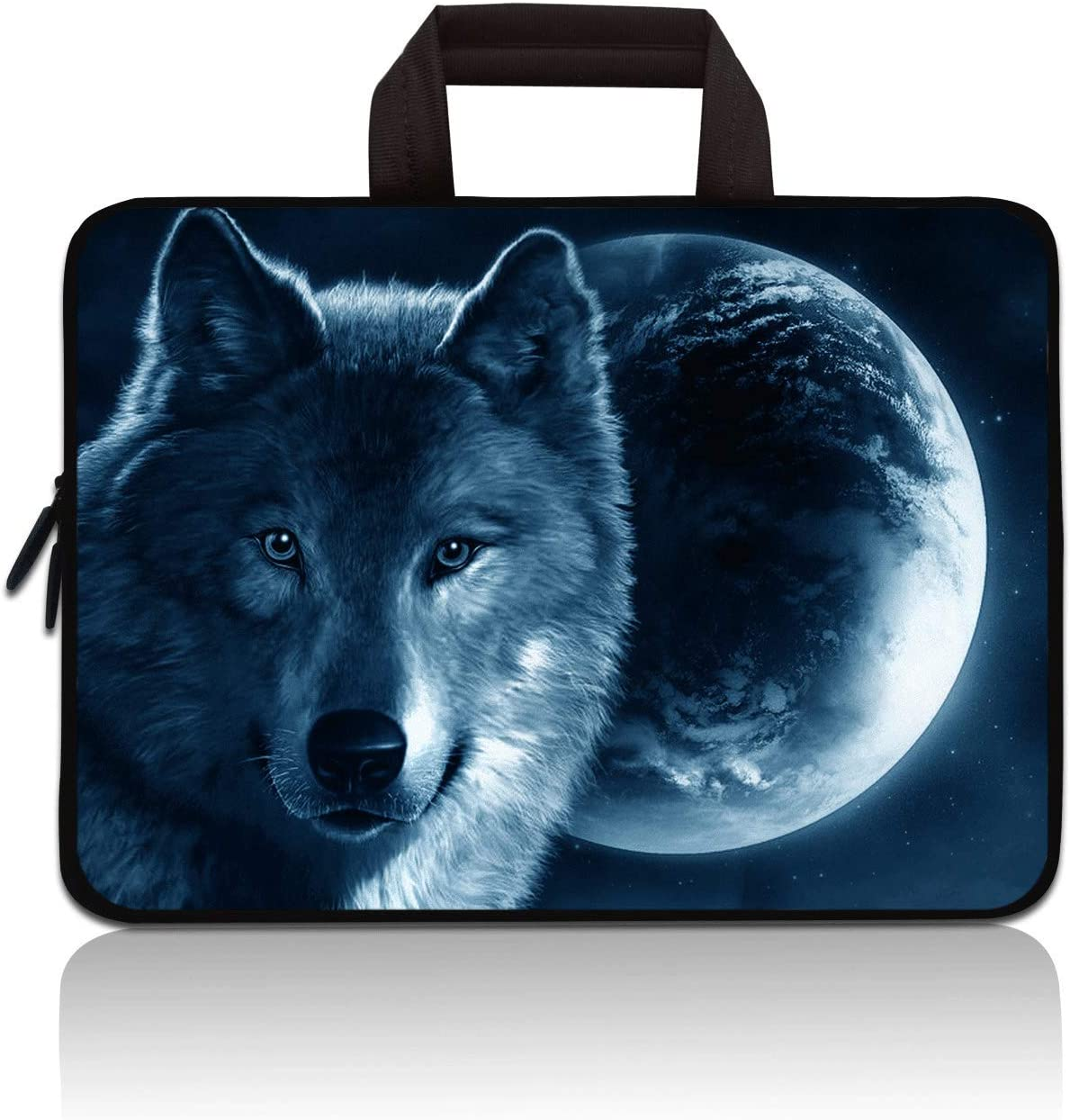 "11"" 11.6"" 12"" 12.1"" 12.5 Inch Laptop Carrying Bag Case Notebook Ultrabook Bag Tablet Cover Neoprene Sleeve Briefcase Bag Compatible with Samsung Google Acer HP DELL Asus(Moon & Wolf)"