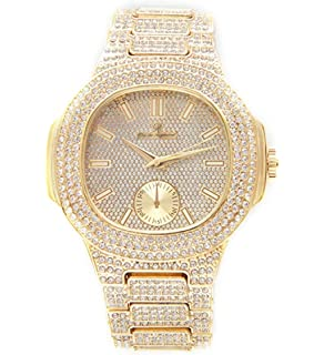 Bust Down AP Watch. Iced Out CZ Diamonds Gold Color Silver AP Hip Hop Watch