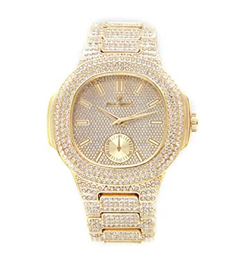 c5b8048580ae8 Amazon.com  Bust Down AP Watch. Iced Out CZ Diamonds Gold Color Silver AP  Hip Hop Watch Jewelry. Rapper Bling Rollie Skelton (Gold)  Jewelry