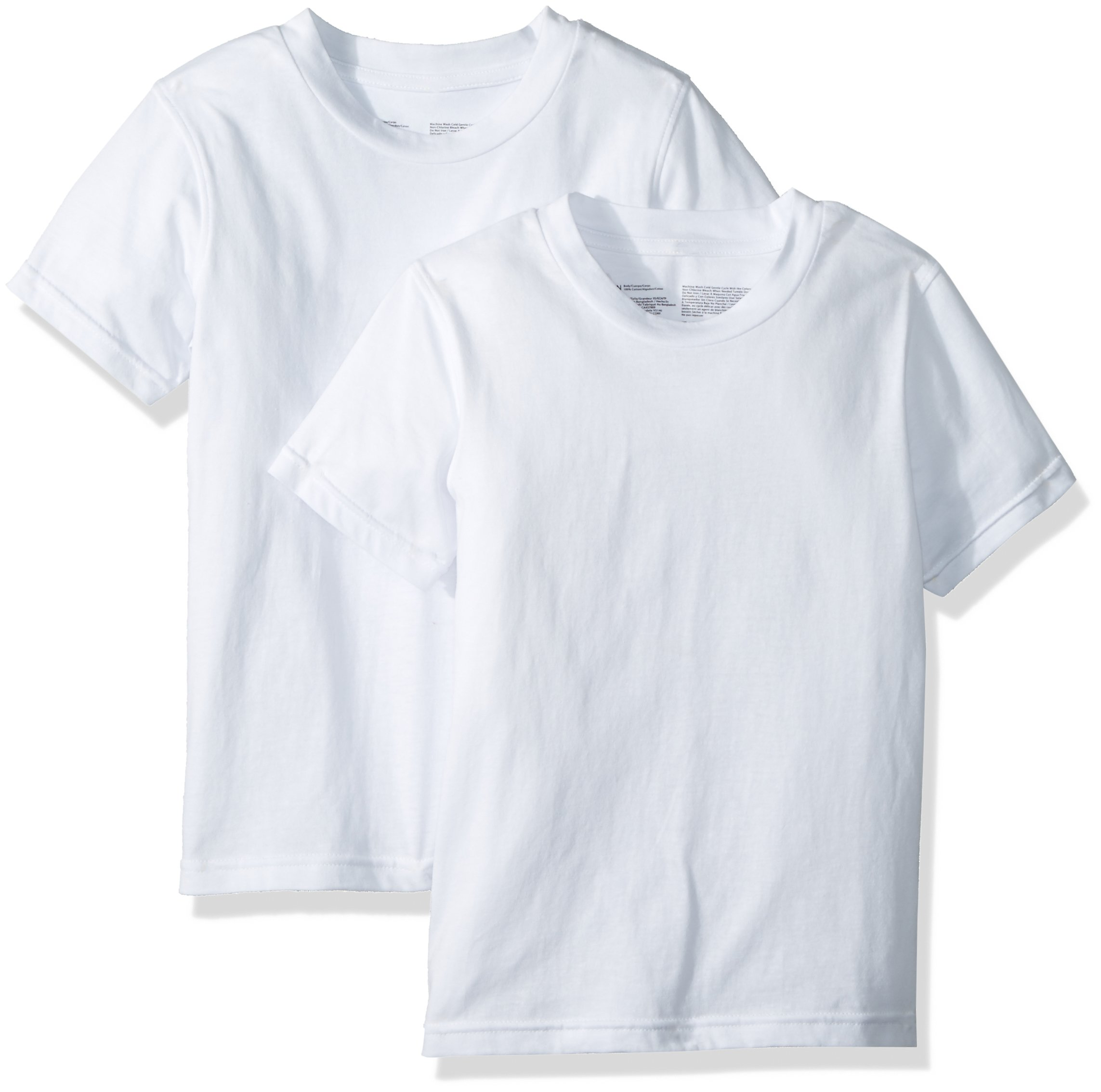 Calvin Klein Big Boys' 2 Pack Short Sleeve T-Shirt, Classic White/Classic White, S (6/7)