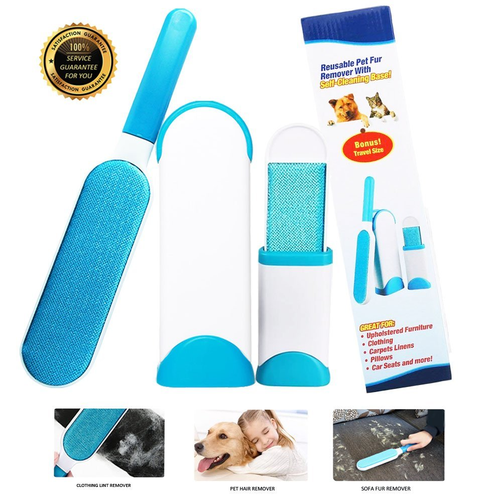Lokinly Lint Remover Tool Pet Hair Removal with Self-Cleaning Base Double Sided Lint Remover for Car,Clothes,Bed,Couch,Carpet,Furniture,Dog,Blue
