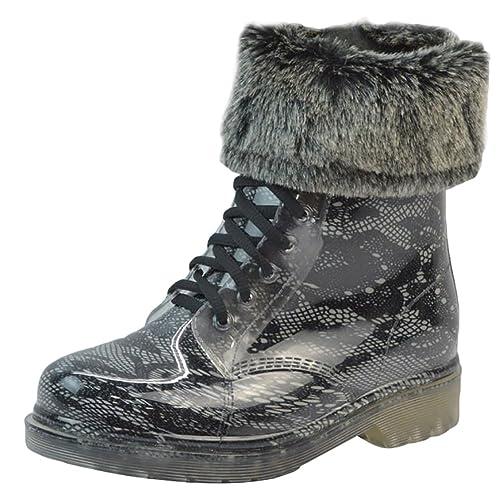 LvRao Mujer Boots Impermeable con Cordones de Zapatos Booties Corto de Lluvia Nieve Botas Casual de Jardín Negro 2 con Pelaje Tamaño Europeo 40: Amazon.es: ...