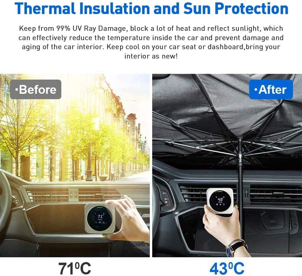 helloleiboo Car Windshield Sun Shade UV Rays and Heat Sun Visor Protector Foldable Reflector Umbrella