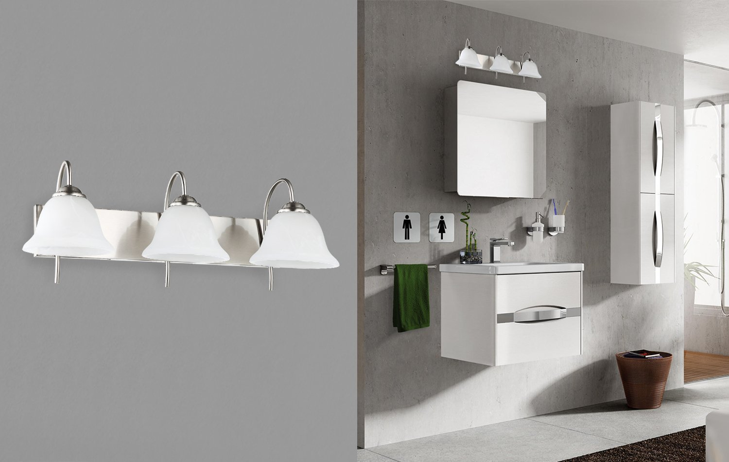 3-Light Bathroom VANITY and Kitchen Wall Sconce Fixture, Satin Nickel Finish with Alabaster Glass Bell Shades, E26 Medium Base For Three Bulbs, UL Listed by OSTWIN (Image #6)