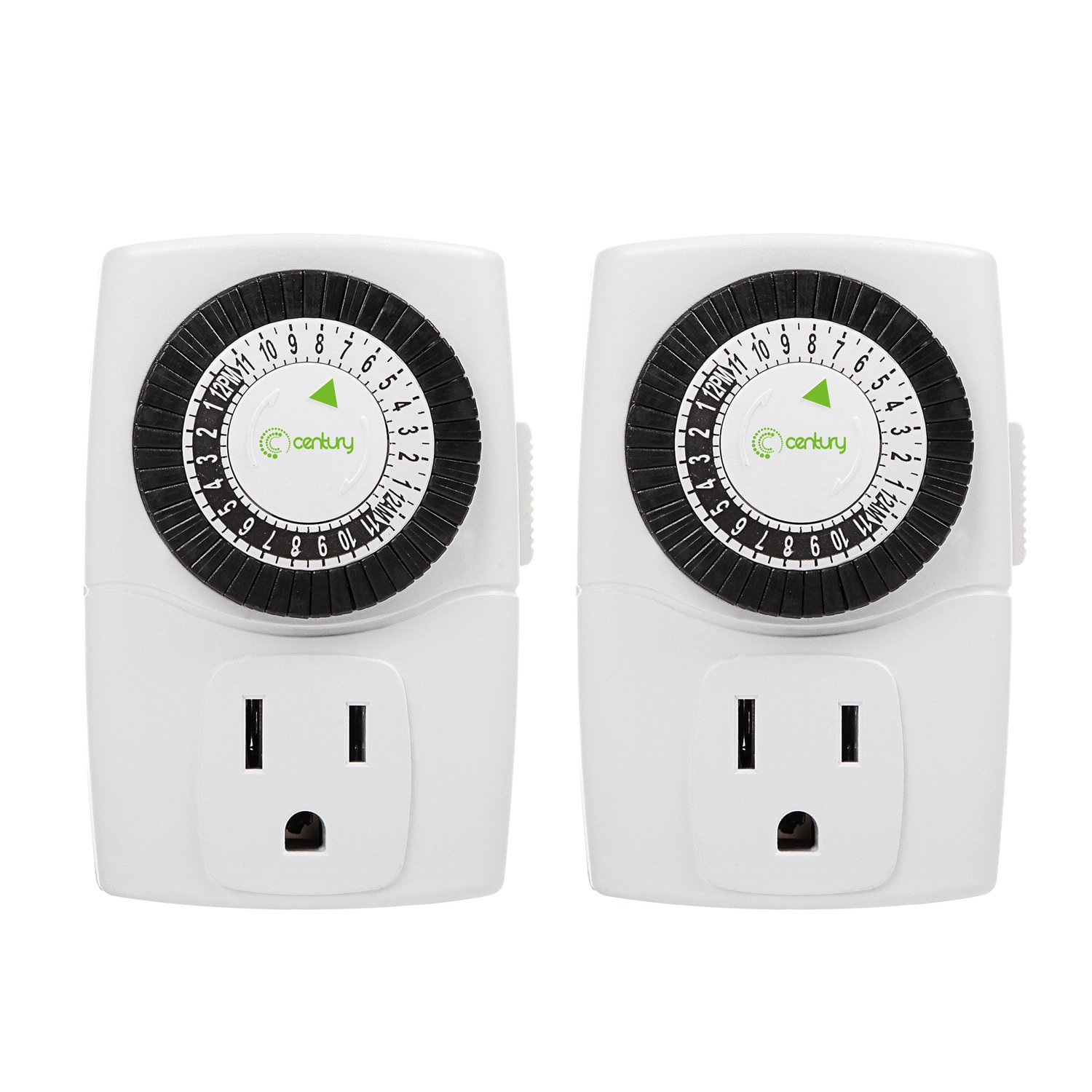 Century Indoor 24-Hour Mechanical Outlet Timer, 3 Prong, 2-Pack by Century