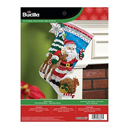 dd3327bf811 Amazon.com  Bucilla 18-Inch Christmas Stocking Felt Applique Kit ...
