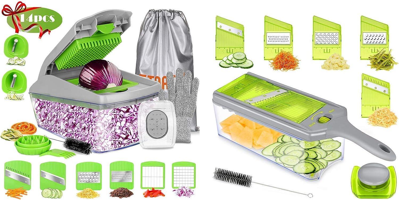 FITNATE 14 in 1 Vegetable&Food Chopper and 9 in 1 Mandoline Slicer