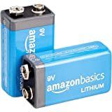 Amazon Basics 2-Pack 9 Volt High-Performance Lithium Batteries, 10-Year Shelf Life, Long Lasting Power