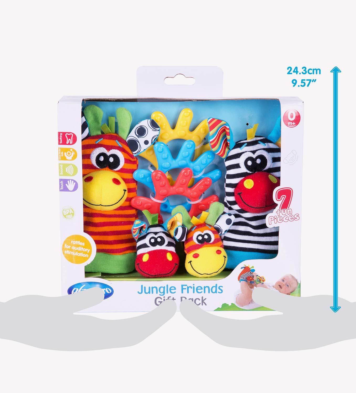 7 Pi/èces Hochets pour Mains et Pieds D/ès la naissance Playgro Coffret Cadeau Animaux de la Jungle 40190 Multicolore