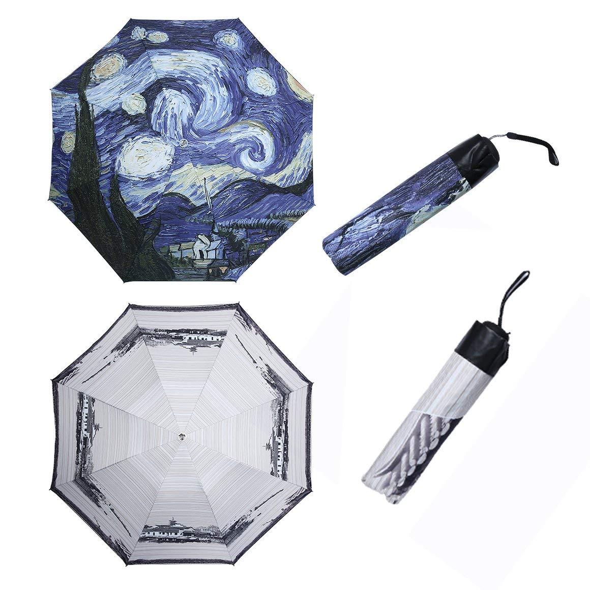 Color Funnyrunstore 2017 Paraguas con Estilo Van Gogh Pintura al /óleo Arts Paraguas Innovador Paraguas para Todo Clima Recubrimiento Dentro del Paraguas Anti UV