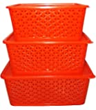 Fair Food Basket With Cover (Set Of 3),Red,Small, Medium, & Big (With Lids),Plastic,Red