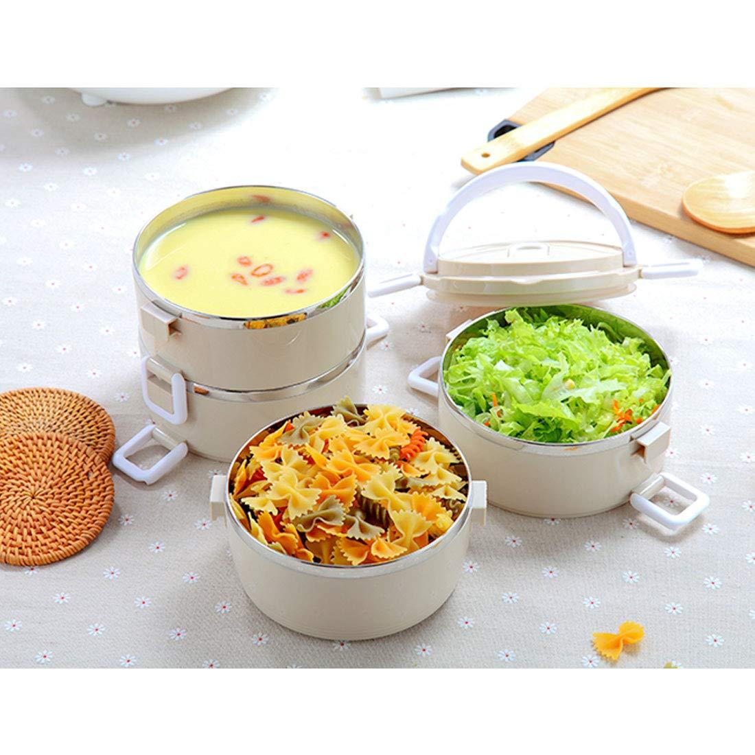 Levoberg Bo/îte Alimentaire Isotherme avec Sac Isotherme Bo/îte Repas Chaud Bo/îte /à Lunch 2 Couches Beige