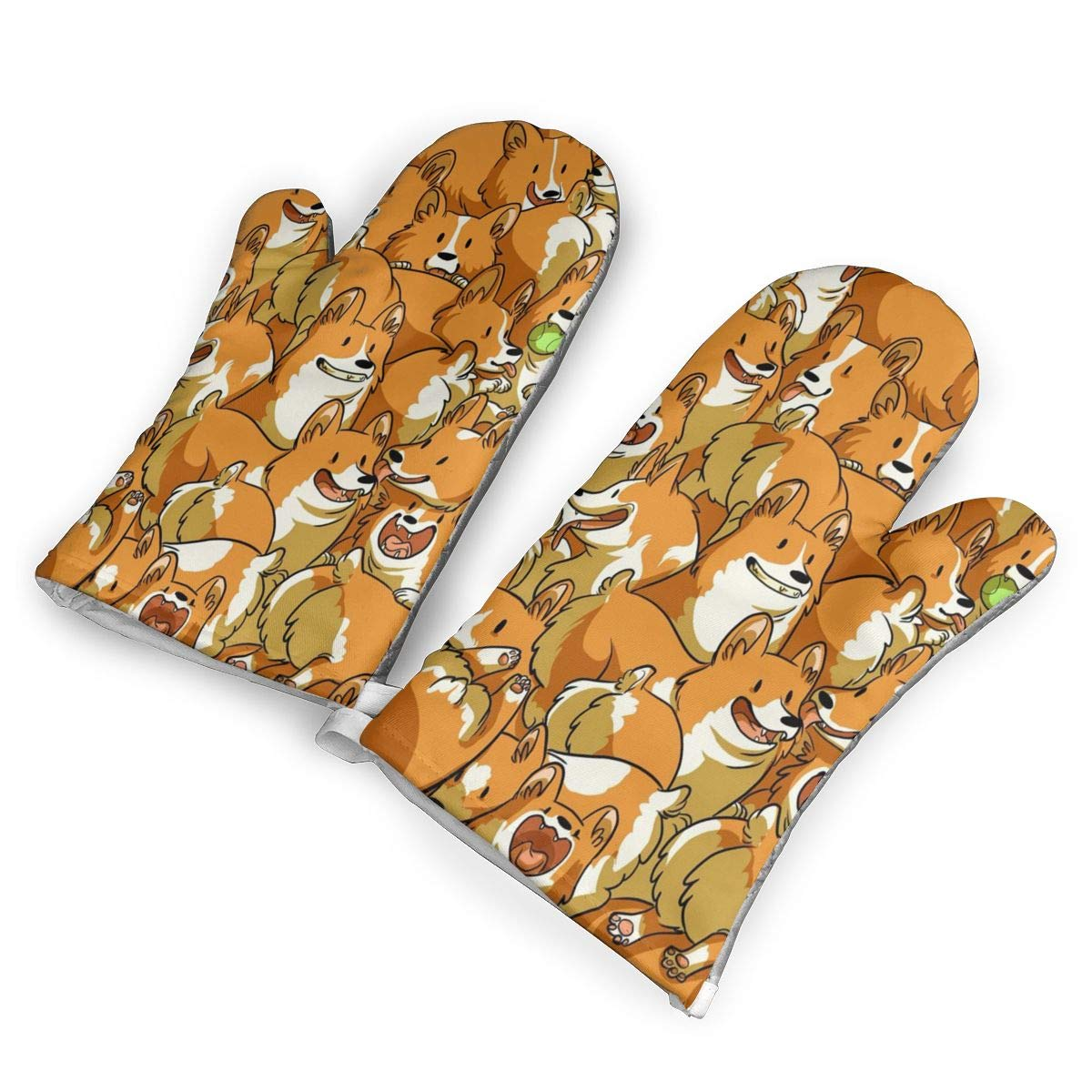 KIXYOUHUU Oven Mitts 5.5 X 12 in Cute Corgi Non-Slip Kitchen Oven Gloves Heat Resistant Washable Cotton Lining