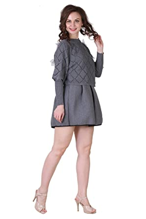 Placket Apparel Grey Fringes Smart Casual Party Dress For Women And