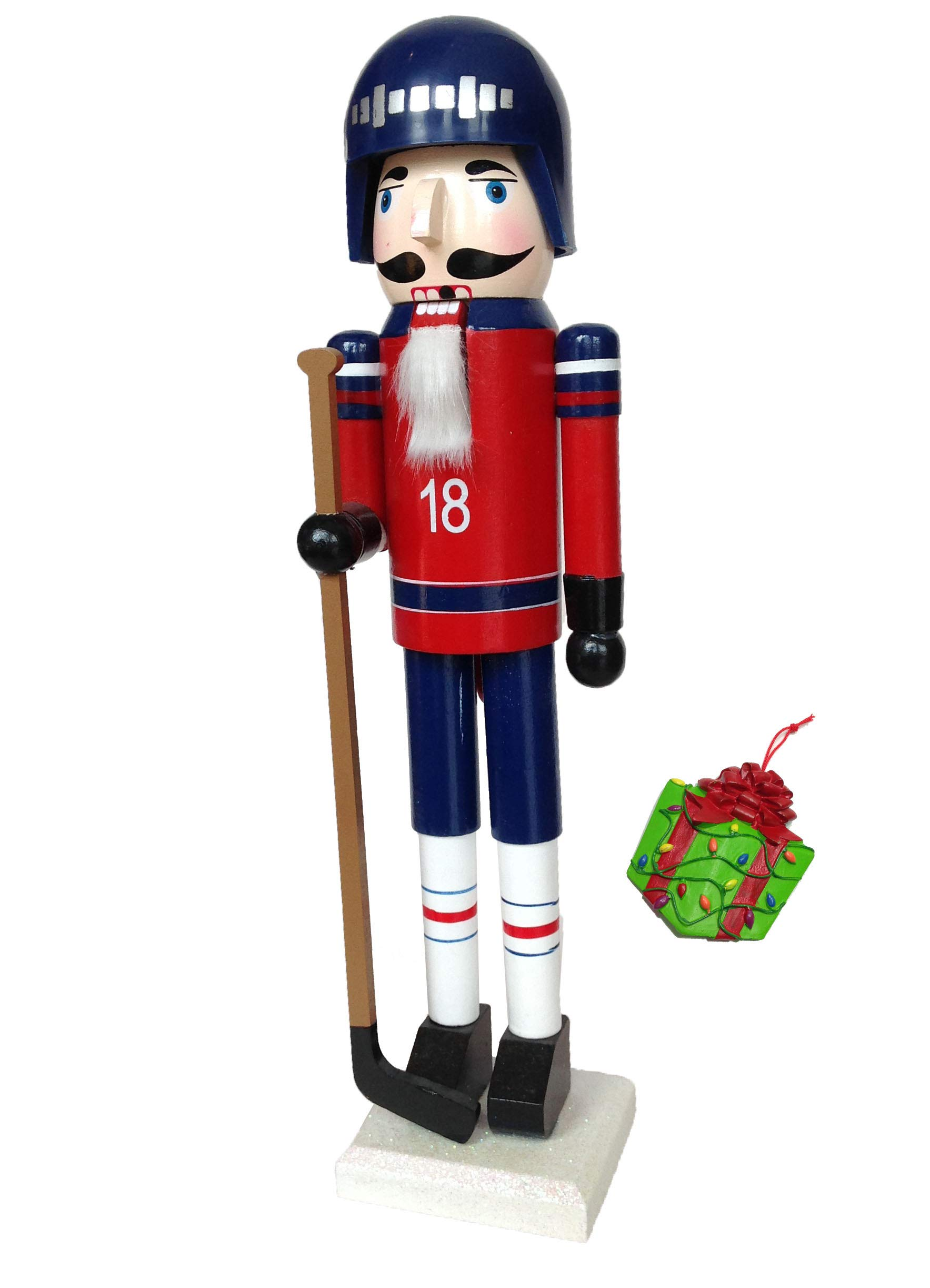 Hockey Player Sports Large Unique Decorative Holiday Season Wooden Christmas Nutcracker & Bonus Tree Ornament