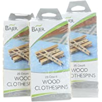 Bajer 75ct Classic Wooden Spring Clothespins Pegs Hardwood Hanger Laundry Drying