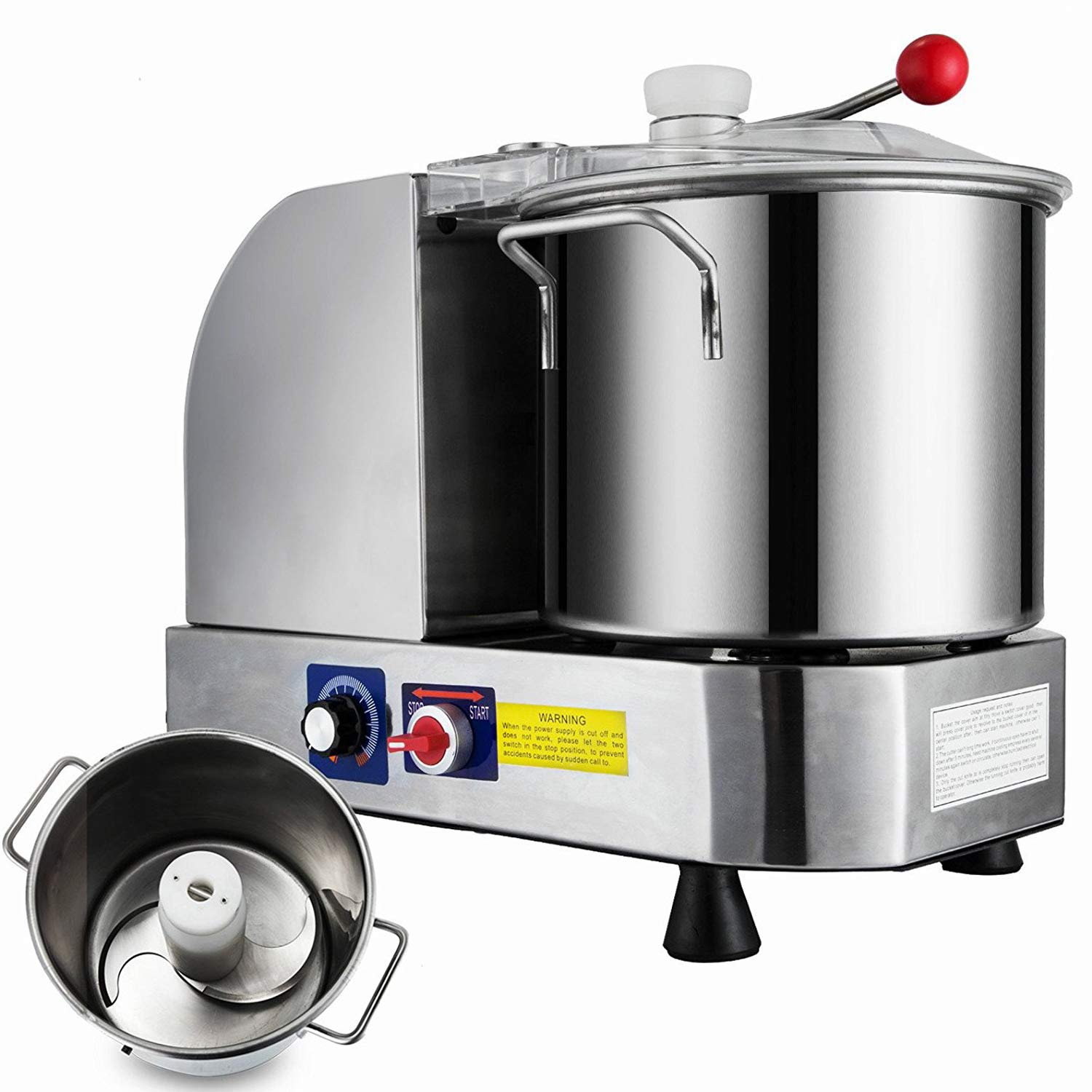 Happybuy Commercial Food Cutter 400W Dough Mixer Machine 850/2000 RPM for Meat Vegetables and Fruit, 6L