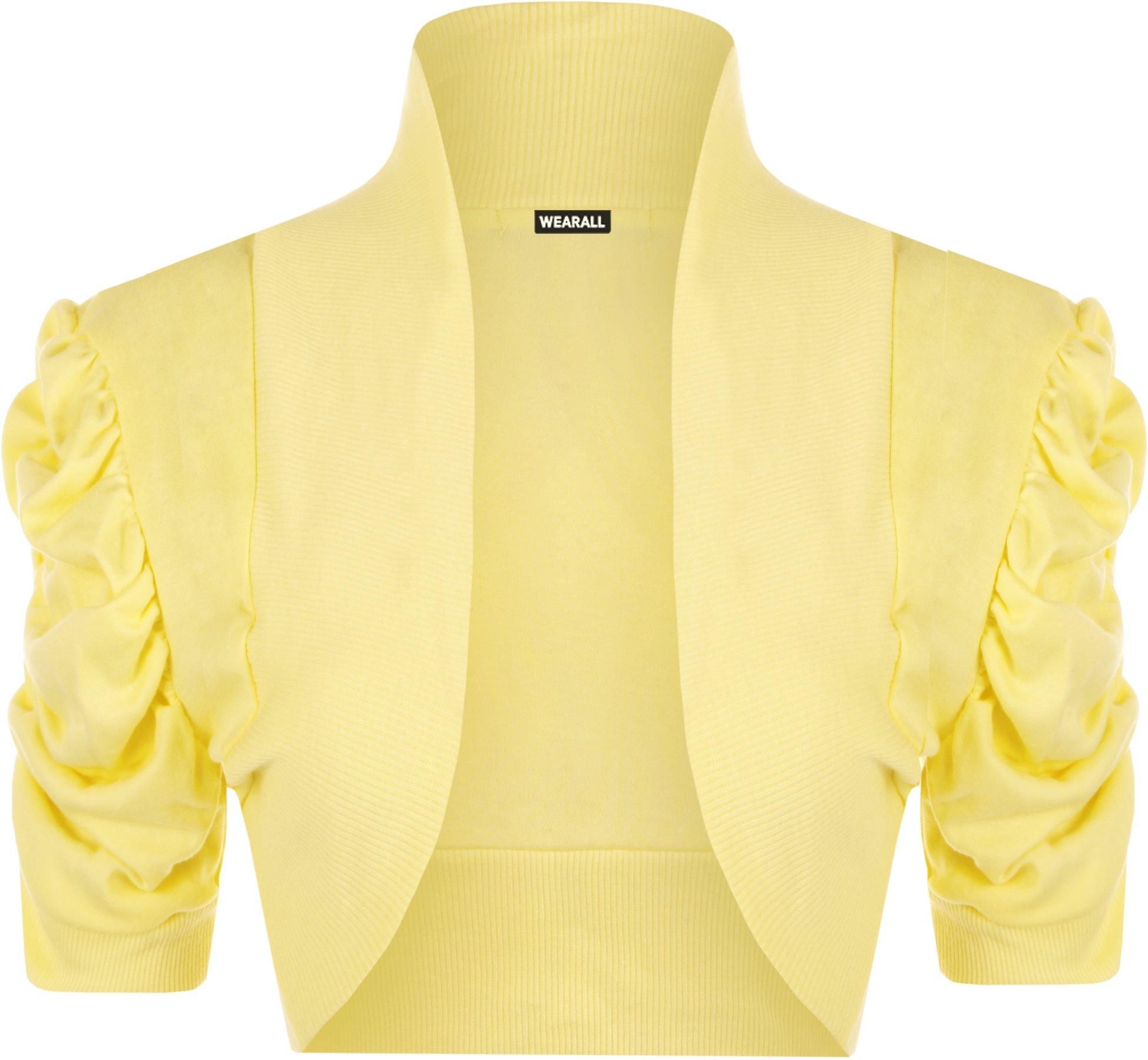WearAll Women's Shrug Top Ladies Short Sleeve Bolero - Yellow - US 8-10 (UK 12-14)