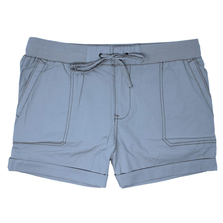 5e8fe8bb1f Khakis & Company Women's Blue Stretch Poplin Shorts to Wear Cuffed Uncuffed  at Amazon Women's Clothing store: