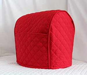 Simple Home Inspirations 2 Pocket Double Faced Cotton Quilted Cover Compatible with KitchenAid Stand Mixer, Lift Bowl, Red