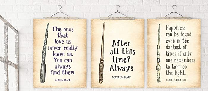 Harry Potter Quote Poster Set of 3 - Snape, Sirius, Dumbledore Quotes   Literary Quote Print  Fine Art Paper, Laminated, or Framed  Multiple Sizes