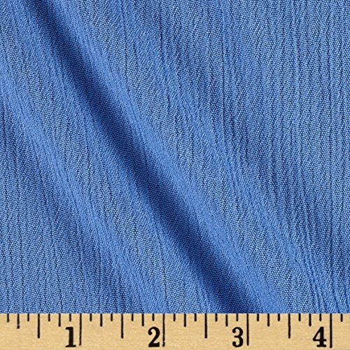 Rayon Crepe - 2268 E 15th Street Rayon Crepe Blue Fabric By The Yard
