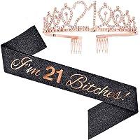 """I'm 21 Bitches!"" Sash & Rhinestone Tiara Set - 21st Birthday Gifts Birthday Sash for Women Birthday Party Supplies…"