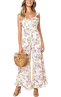 0a7fec34fb5 Angashion Women s Floral Print Ruffles Backless Chiffon Jumpsuit Spaghetti  Strap Loose Wide Leg Long Pant Summer