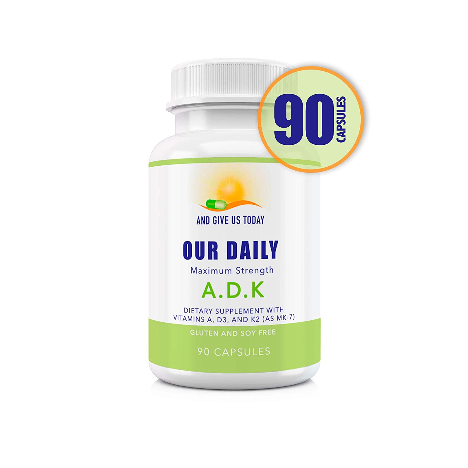 Our Daily Vites ADK Physician Formulated Vitamins A1, D3 & K2 (as MK7) - Bone, Heart & Immune System Support - Gluten Free, Soy Free, Non-GMO, Vegetarian Capsules 90 Count (3 Month Supply)