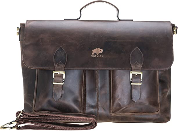 Distressed Antique Leather Replacement Handle Luggage Briefcase Instrument Case