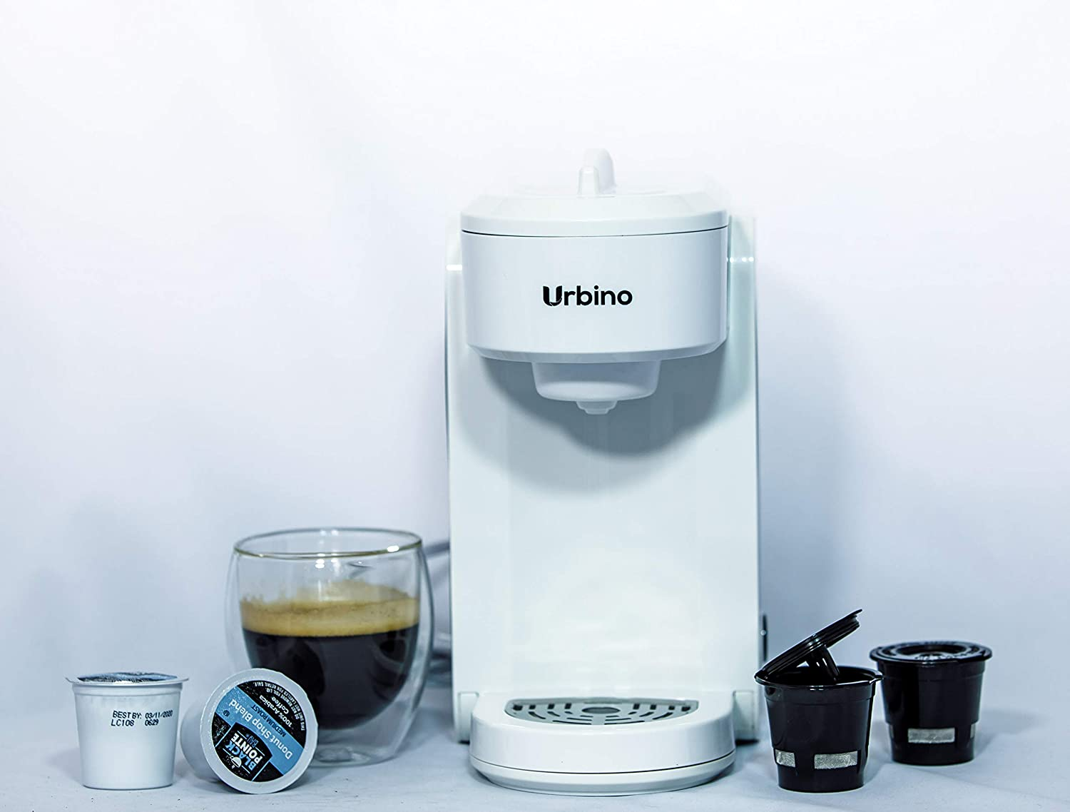 Stainless Steel//White Coffee Maker Single-serve compatible with K-cup pods ,Auto Shut Off,1000 Watts Urbino 300ml 2x free reusable ground coffee pods 10 OZ