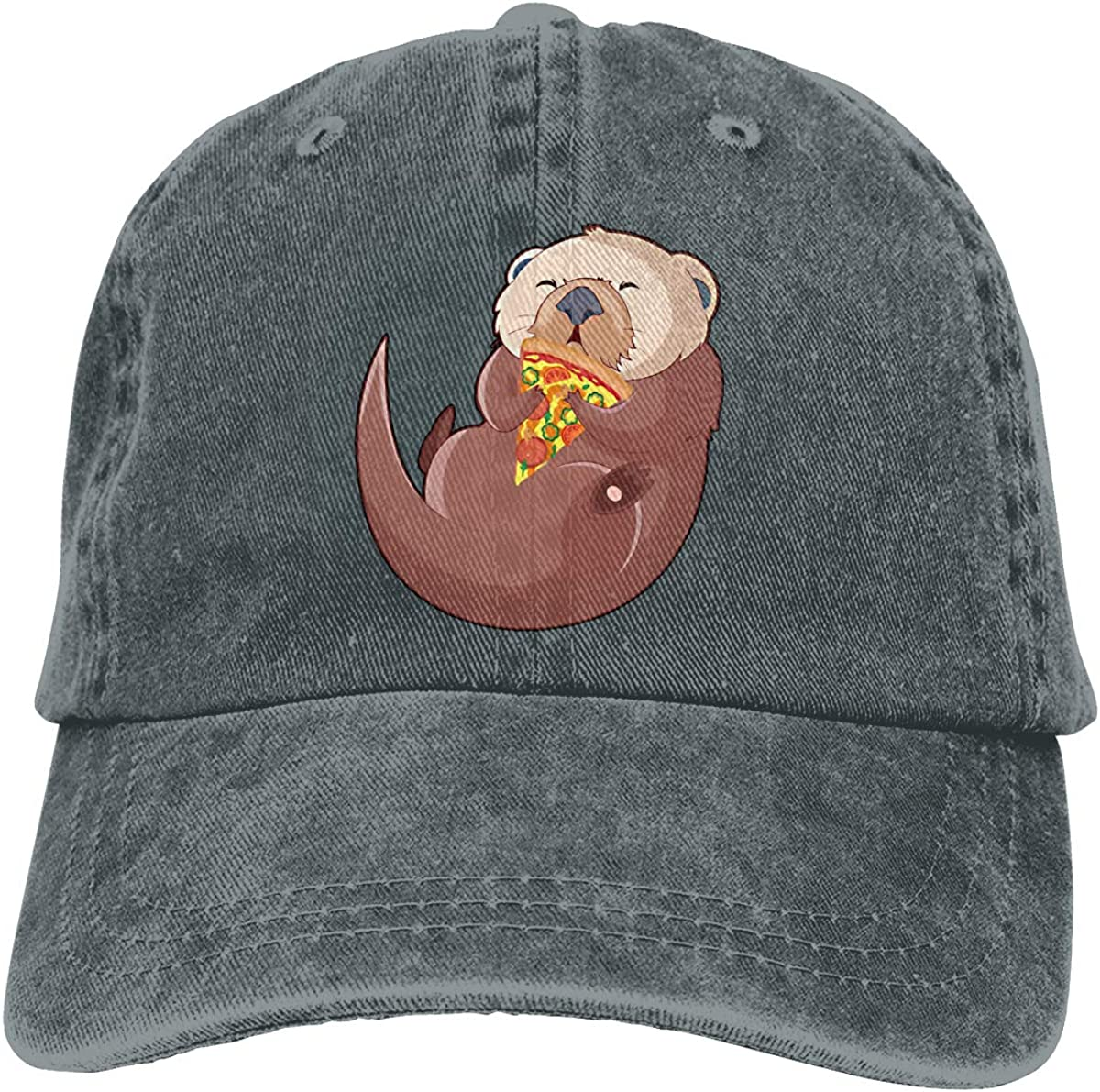 Unisex Funny Sea Otter with Pizza Vintage Washed Dad Hat Funny Adjustable Baseball Cap