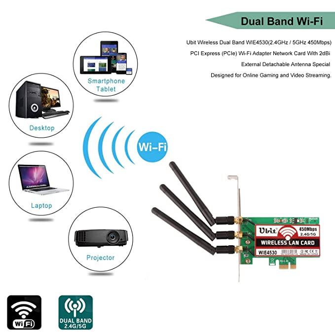 Ubit 450Mbps Wireless PCI-E Tarjeta Express Adaptador de Red WiFi Tarjeta de Banda Dual (2.4GHz 450Mbps o 5GHz 450Mbps) con Antena 3PCS para Win7 / Win8 ...