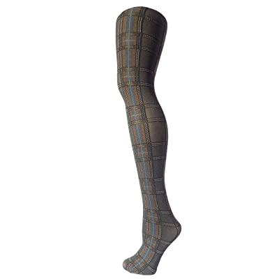 Makkat Italian Quality Women's soft knit pattern tights (Grey Blue Plaid) at Women's Clothing store