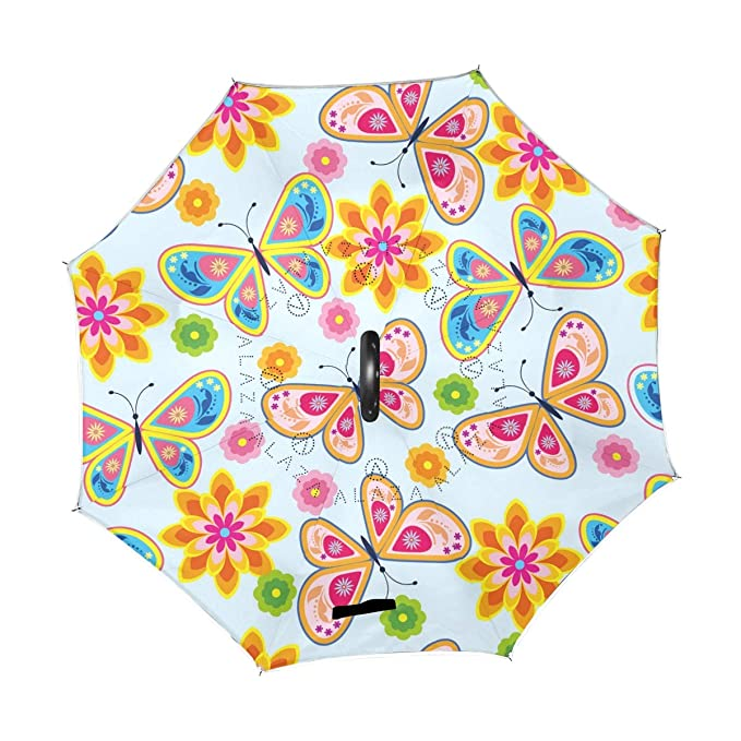 0d030e165e07 Amazon.com : ATZUCL Colorful Butterfly and Flower Inverted Umbrella ...