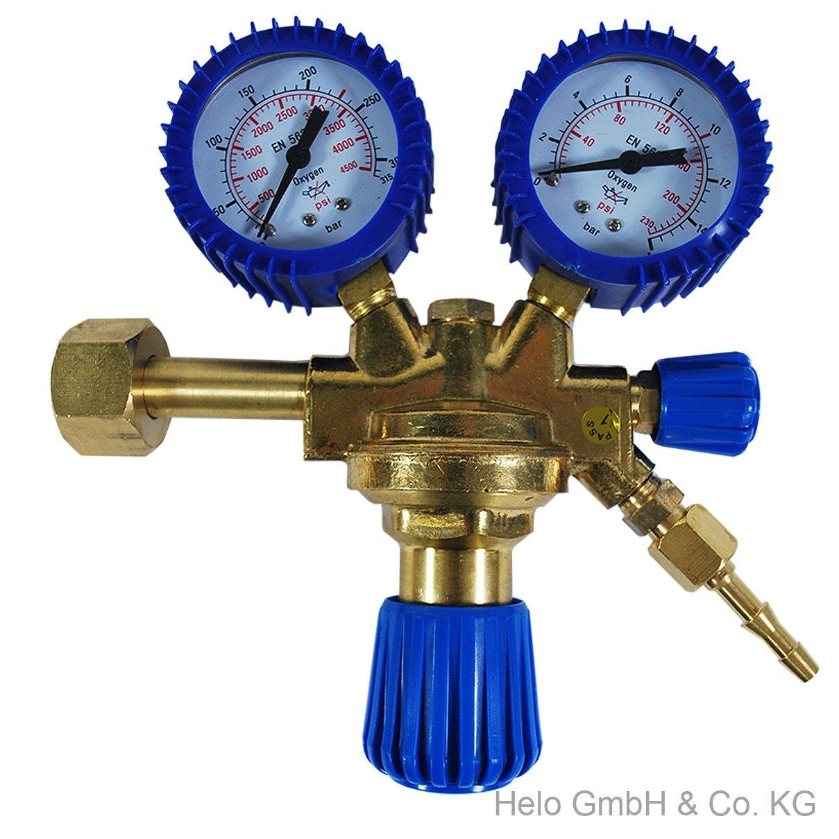 Druckminderer Druckregler Druckmanometer Sauerstoff Schweißen Messing O2 Armatur Helo