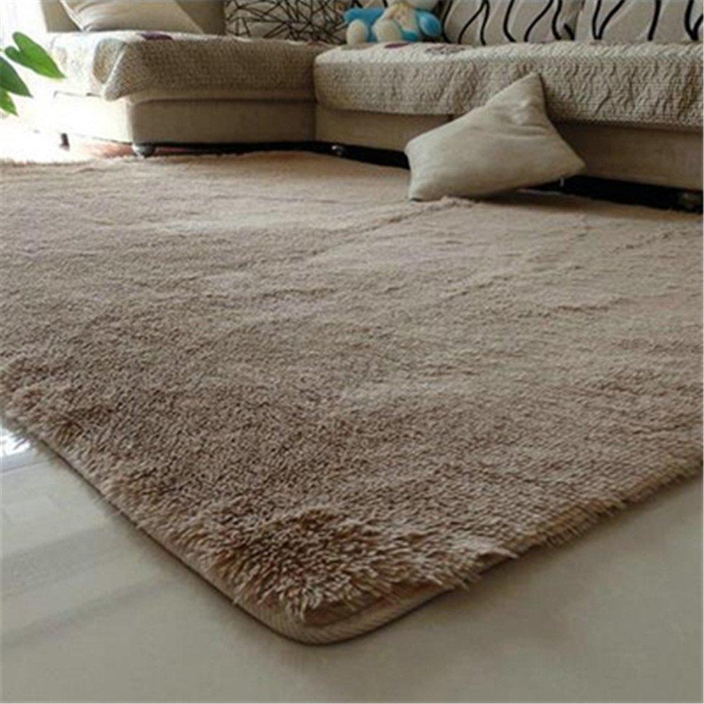 80X120cm Floor Carpets Anti Slip Bedroom Soft Mat Models Silky Carpet Mats Sofa Skin Rugs Beige 80x120cm