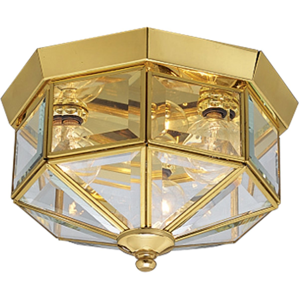 Progress Lighting P5788 10 Octagonal Close To Ceiling Fixture With Clear Bound Beveled Glass Polished Brass Amazon Com