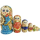 Winterworm New Set of 7pcs Popular Fan Shape Colorful Nesting Dolls Authentic Russian Wooden Matryoshka Children Kids Birthday Gifts Home Decoration