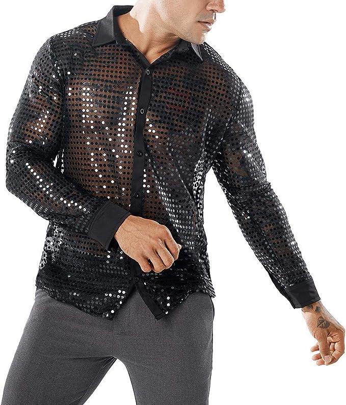 Memefood Camisa De Hombre De Lentejuelas Brillantes De Malla Trransparente Moda Camisas Botones De Vestir Personalidad Casual Fiesta Club: Amazon.es: Ropa y accesorios